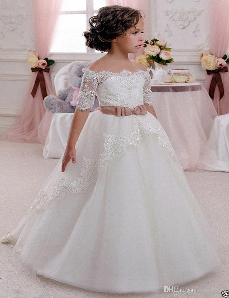 2017 Communion Pageant Dresses White Bateau Organza Lace Flower Girl Dresses Sexy Lace Up Birthday Children Girl Pageant Gown Princess Gowns