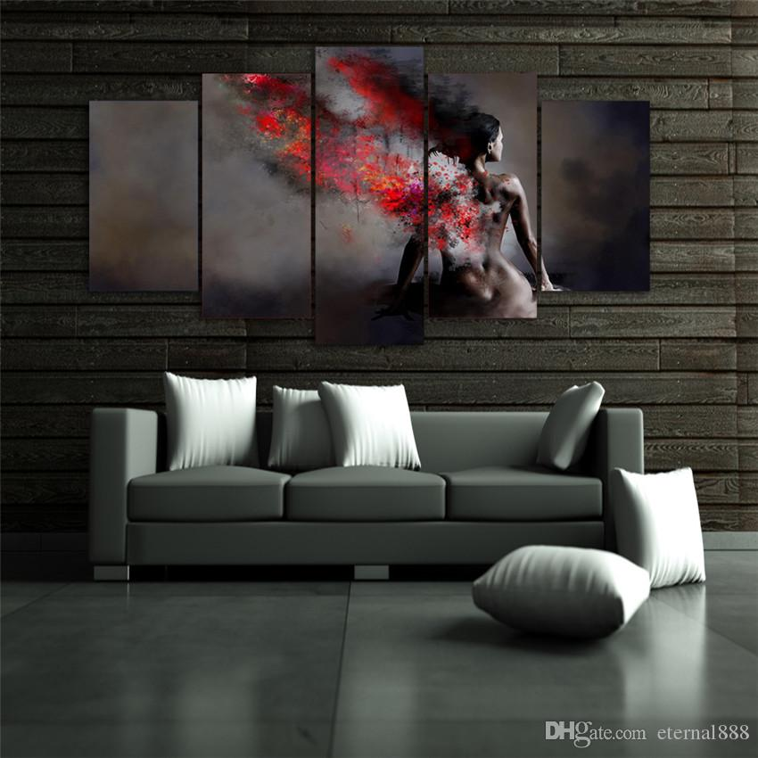 2019 5 Panels Nude Girl Back Modern Abstract Canvas Oil Painting Print Wall Art  Decor For Living Room Home Decoration Framed/Unframemcla From Eternal888,  ...