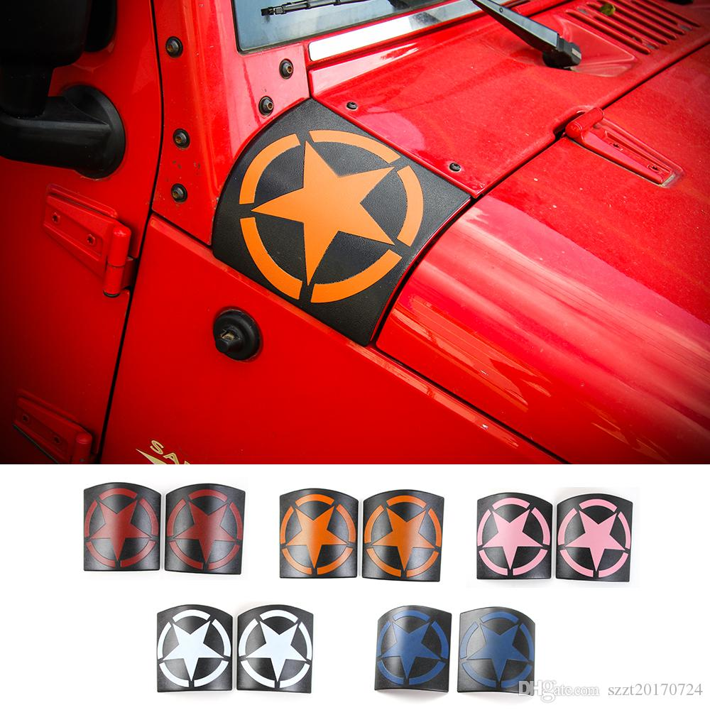 Hood Angle Wrap Covers Decoration Cover Fit For Jeep Wrangler 2007 ...