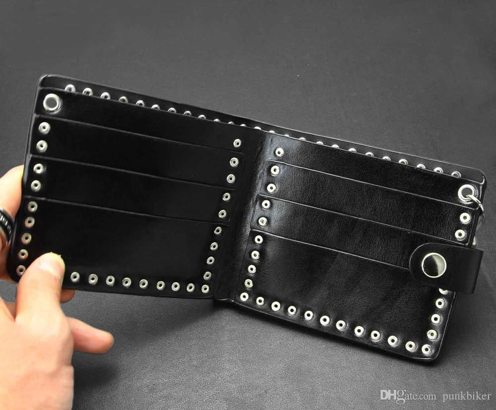 Black Men's skull studded Leather Wallet with a Jeans Long Key chain