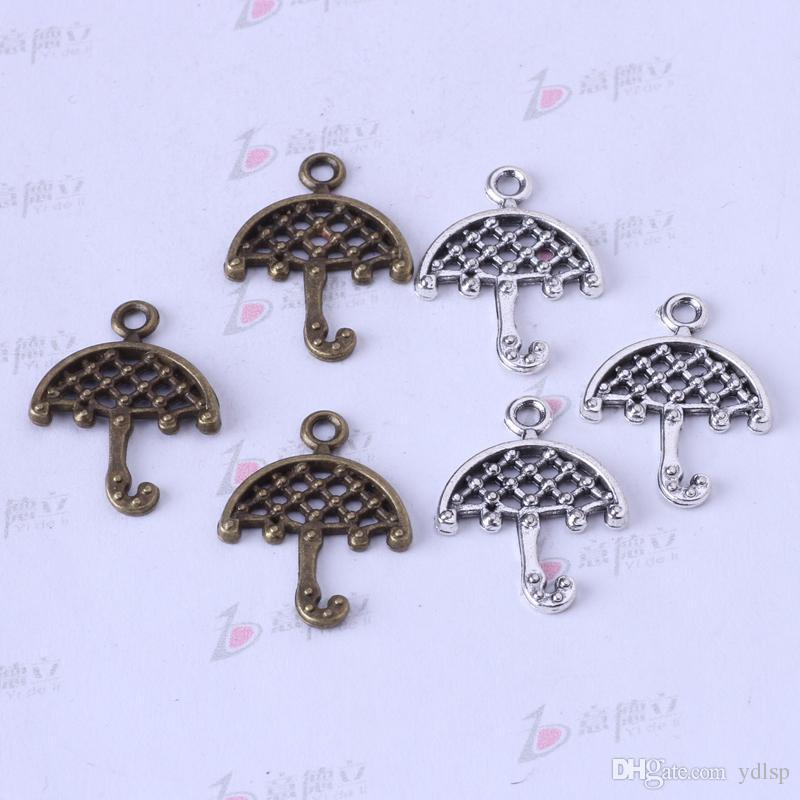 DIY Retro Prata / bronze Umbrella Pingente Fit Pulseiras ou Encantos Colar de liga de Jóias 400 pçs / lote 3328