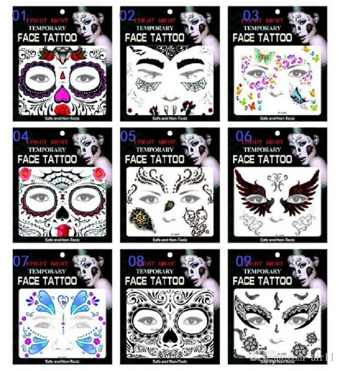 a96e326e5ad57 Hot Sale Fright Night Temporary Face Tattoo Body Art Chain Transfer Tattoos  Temporary Stickers In Stock 9 Styles Make Your Tattoo Metallic Tattoos  Temporary ...