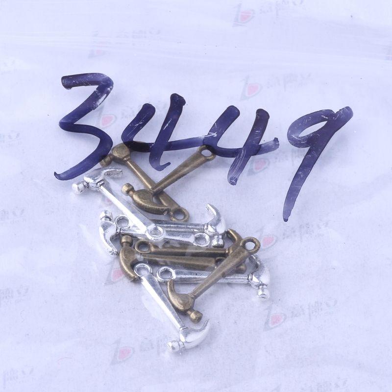 Mini marteau charme argent antique / bronze pendentif en alliage de zinc DIY bijoux ajustement Bracelets Collier / 3449