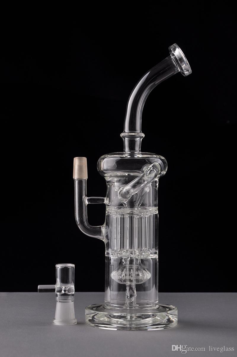 Nuovo vetro arrivo bong albero braccio linea perc Bongs vetro riciclatore pipe tubo di vetro di spessore con giunto 14 millimetri