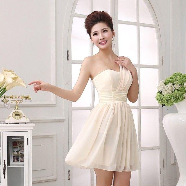 Eine Schulter gefaltet kurze Chiffon Brautjungfer Kleid 2016 Ballkleid Hochzeits-Party-Kleid schnüren sich zurück
