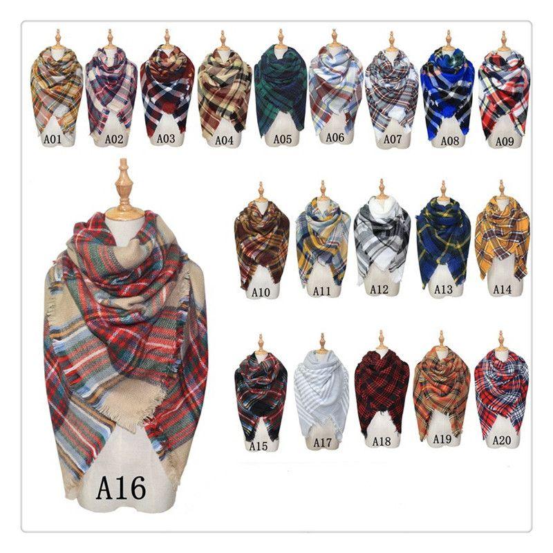 2017 New Women Blanket Scarf Cozy Oversized Tartan Tassel Scarf Wrap Grid Shawl Check Pashmina Cashmere Lattice Neck Plaid Blanket Scarf