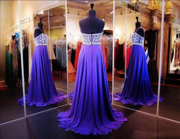 Luxus Abendkleider Lange Formale Abendgesellschaft Tragen Eine Linie Exquisite Perlen Top Chiffon Rock Lila Formale Kleider Nach Maß