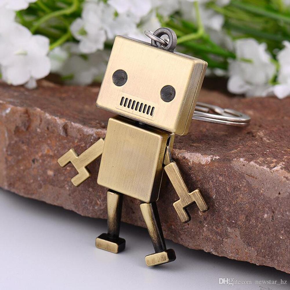 Creative Vintage Robot Model Metal Keychains Zinc Alloy Keychain Handbags Mini Key Chain Keyfob Car Keyrings Bag Charm Gifts