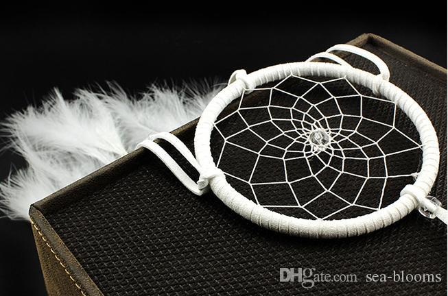 Dream Catcher Circular Net Clear Bead White Feather Circular Net Car Room Colgante de pared Decoración Ornamento de la boda del partido DHL libre B954L