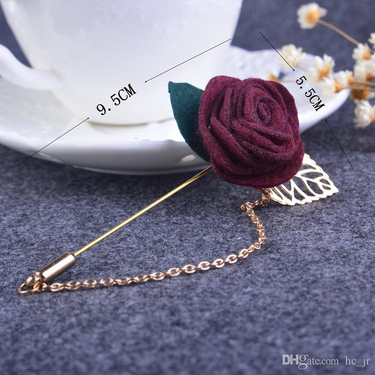 Korean version of a small jewelry brooch roses with leaves Corsage flower jewelry handmade suit Flower Corsage Chain brooch cloth