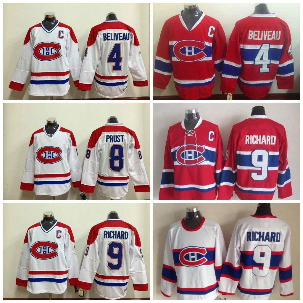 1ec04d8aee6 ... CCM Vintage Throwback Jersey Montreal Canadiens 4 Jean Beliveau Jersey