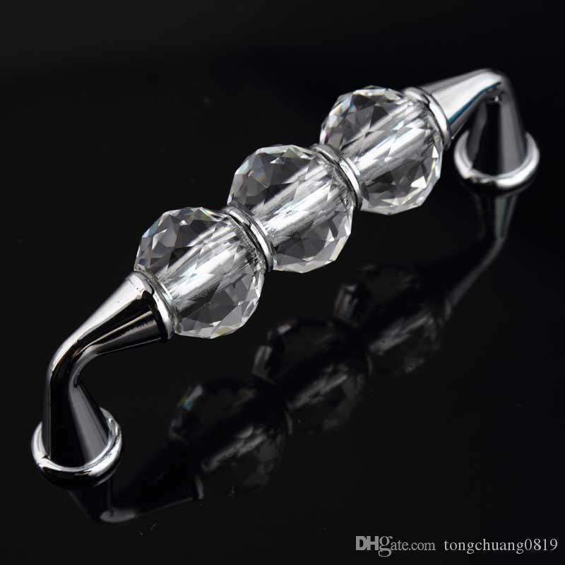 "96mm fashion deluxe glass crystal win cabinet dresser door handle silver golden drawer knobs pulls 3.75"" glass diamond handles"