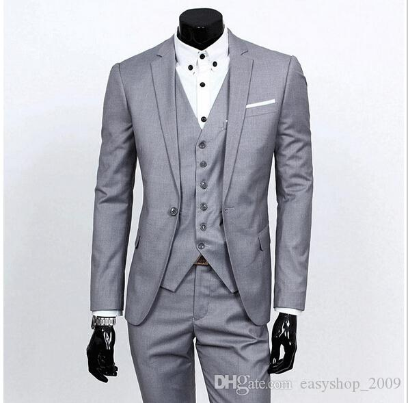 Latest fashion style of men's three-piece suit dress high quality customized handsome man suit jacket + pants + vest