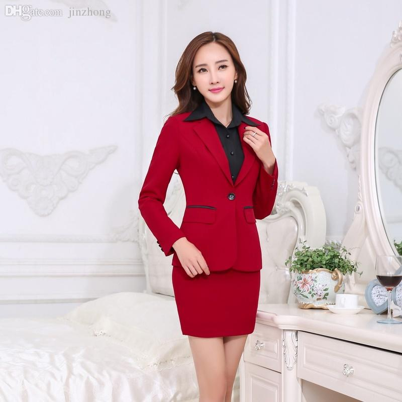 95fb27933e0 2019 Wholesale Formal Red Blazer Women Business Suits With Skirt And Jacket  Sets Elegant Ladies Office Suits Work Wear Uniforms OL Style From Jinzhong