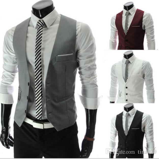 New Men's Business Suit Slim Formal Casual Waistcoat Vest Fit Suits Wedding Costumes Black White Gray Burgundy