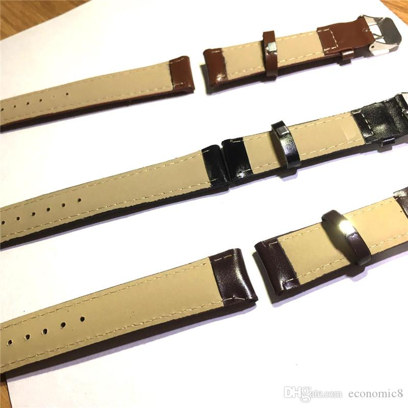 Bracelet de montre en cuir de vachette véritable marron 18mm 20mm noir marron