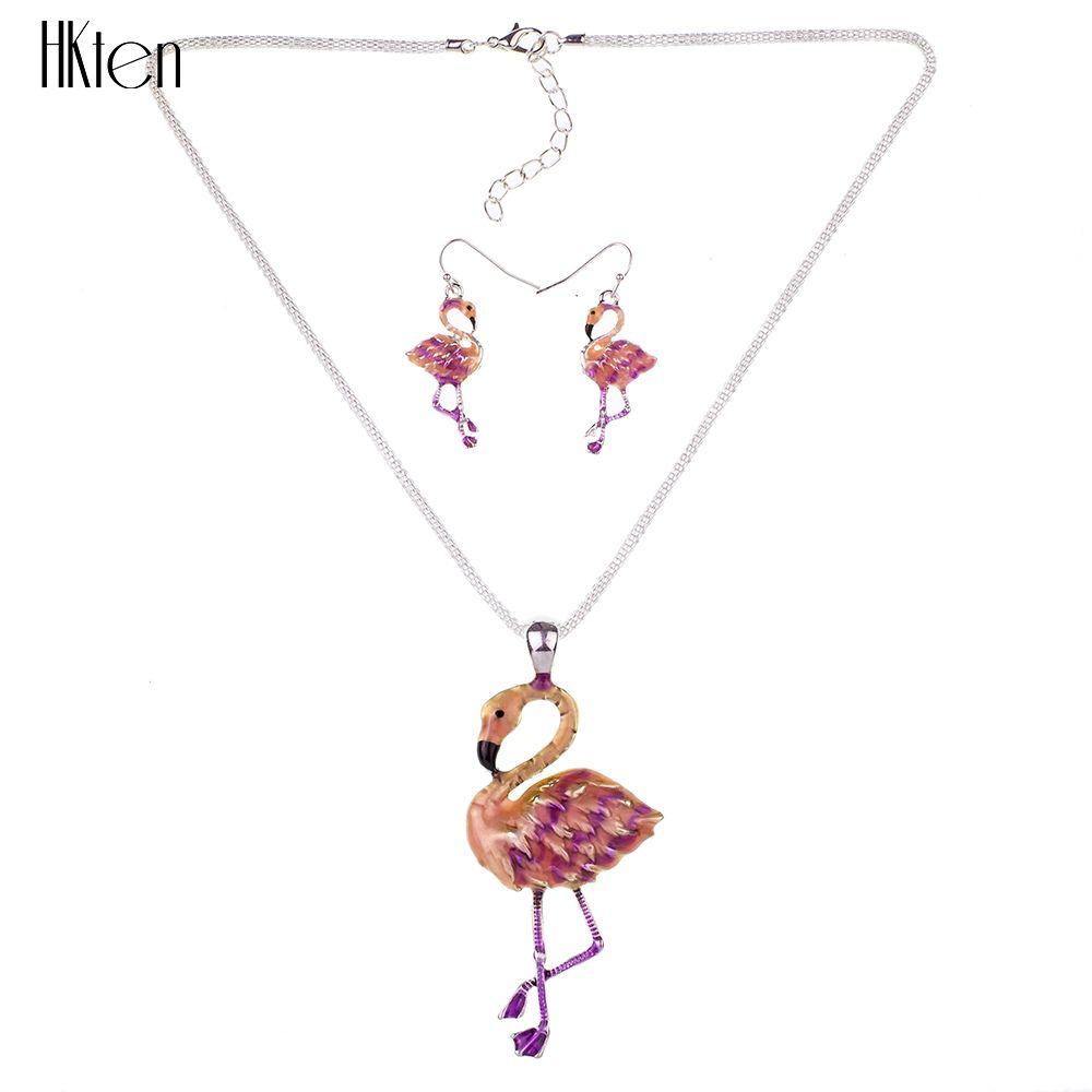 MS1504433 Moda Fil Takı Setleri Yüksekliği Kaliteli Gümüş Kaplama Renkli Kolye Flamingo Kolye Küpe Setleri gerdanlık