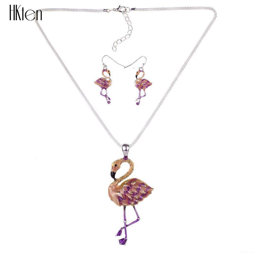 MSdi gioielli in elefante moda di alta qualità placcato argento multicolore pendente collana di fenicotteri orecchini orecchino girocollo