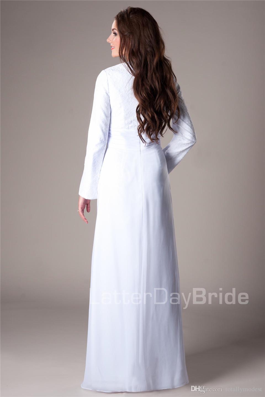 Rendas brancas do vintage chiffon mangas compridas templo modesto vestidos de recepção vestidos informais de recepção até o chão até uma linha vestidos de noiva