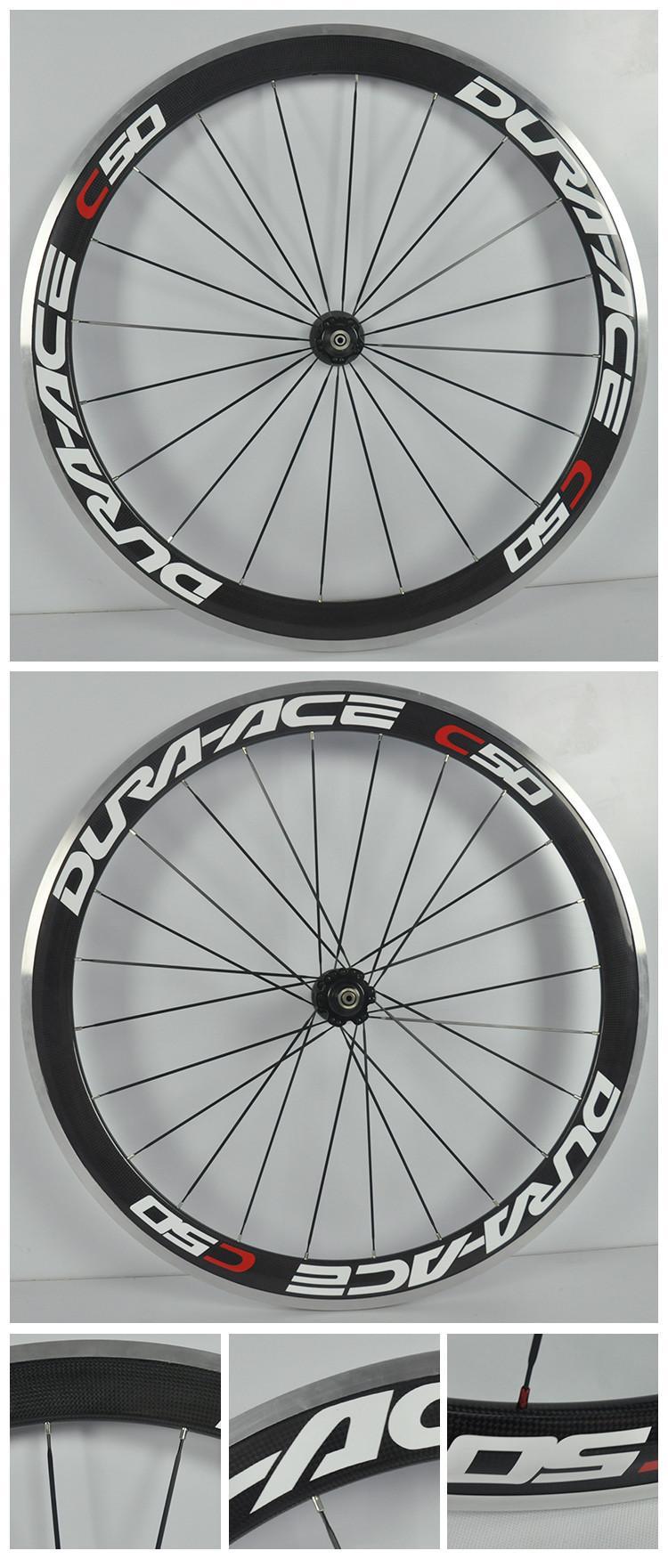 Frete grátis liga de freio de superfície 50mm rodado de carbono para bicicleta de estrada 700c carbono clincher rodas 23mm de largura com rolamento de cerâmica hubs rodas