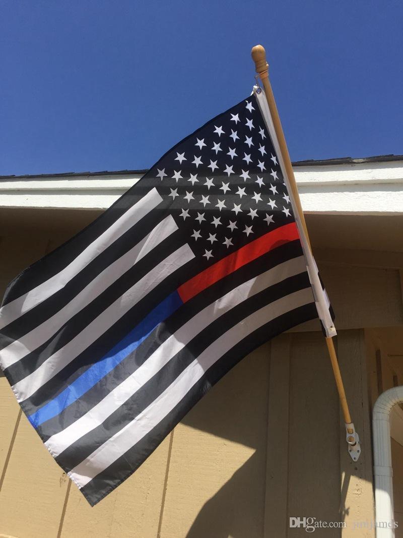 90 * 150 cm BlueLine EUA Polícia Bandeiras 5 estilos 3x5 Pé Fina Linha Azul EUA Bandeira Preto Branco E Azul Da Bandeira Americana Com Latão Grommets