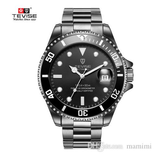 Treaure Mens Dress Watches Luxury TEVISE Business Men Automatic Mechanical Stainless Steel Calendar Military Watch