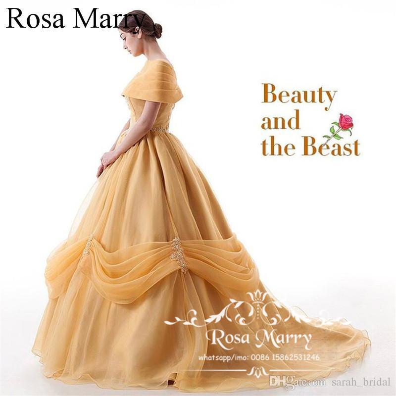 Cenicienta Dulce 16 vestido de bola Vestidos de quinceañera 2020 Mascarada fuera del hombro Belleza amarilla y bestia Debutante Vestidos 15 años Vestidos de baile