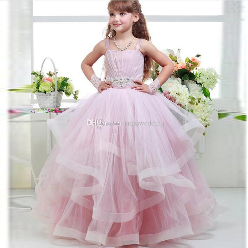 Little Princess Pink Ruffles Tulle Ball Gown Spaghetti Straps Flower ...