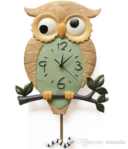 lovely children love cartoon resin owl shape wall clock Big Band Wall Clock for Living Room Big Clocks for Living Room
