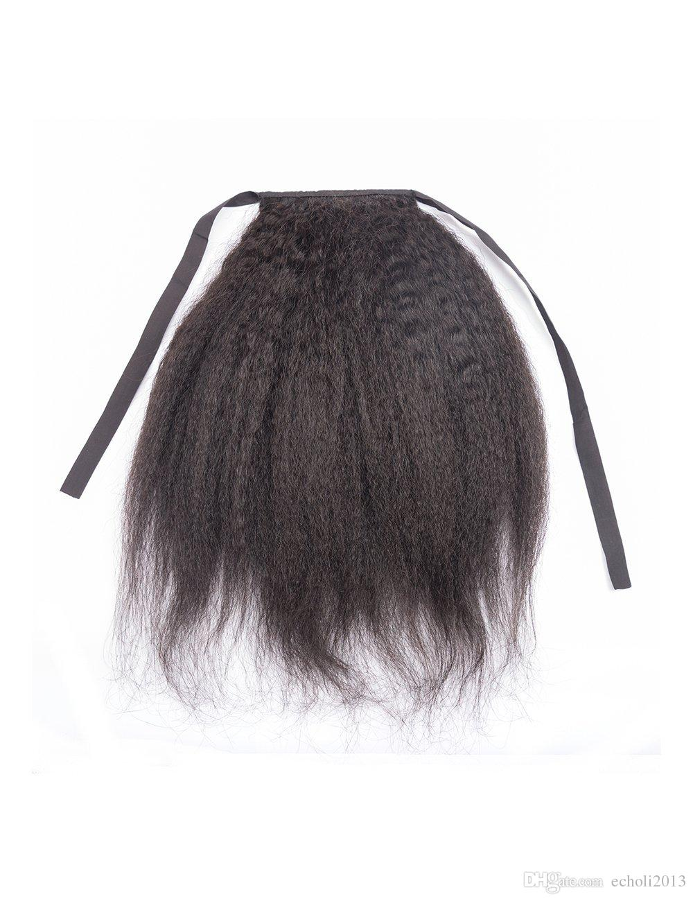 16 Inch Kinky Straight Ponytail Extensions Clip in Human Hair Off Black Color 1B Ponytail Natural Hair Extensions 100g Piece