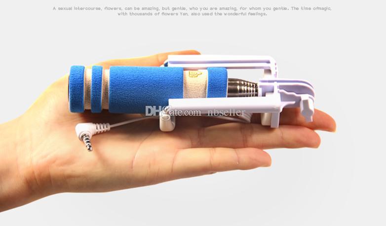 YENI Katlanabilir Süper Mini Kablolu Özçekim Sopa El Uzatılabilir Monopod-Bluetooth Shutter kaymaz Kolu telefon ile Uyumlu