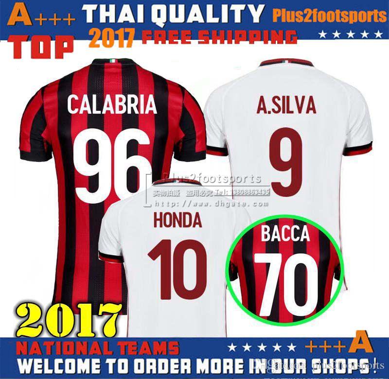 6351876ae30 ... 2017 2018 AC Milan Home Away Jersey 17 18 AC Milan HONDA BACCA CALABRIA  POLI BERTOLCCI ...