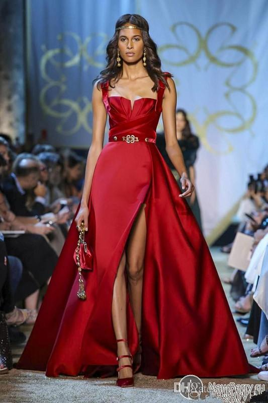 Elie Saab Haute Couture Red Evening Dresses Matt Stain Spaghetti A Line Side Split Bodice Pleated Formal Occasion Prom Party Gown