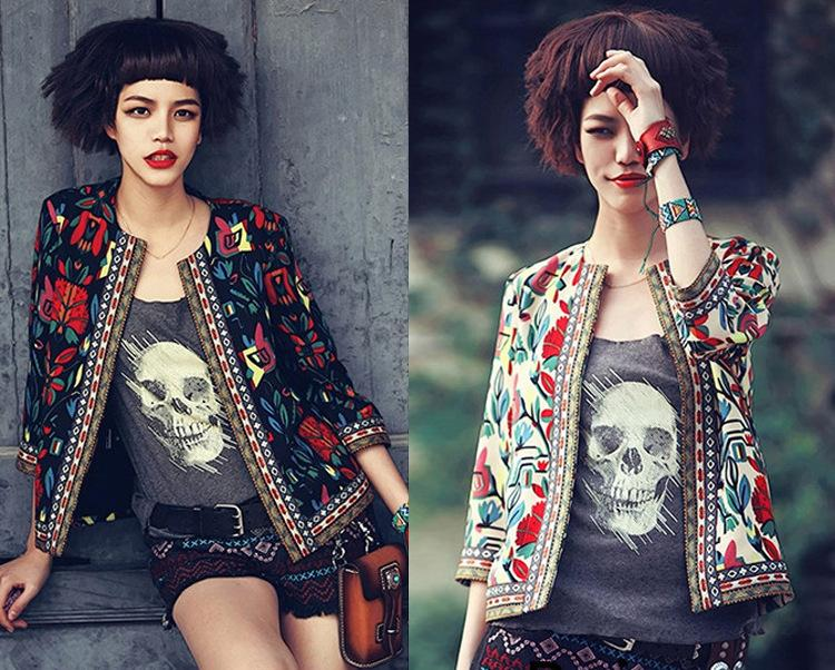 Womens Bomber Embroidered Jacket Camperas Chaquetas Mujer Flower Print  Seven Sleeve Zipper Short Thin Women Jackets And Coats Embroidered Jacket  Jackets ...