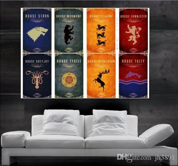 Game Of Thrones Wall Art game of thrones symbols of houses flags poster print wall art 8