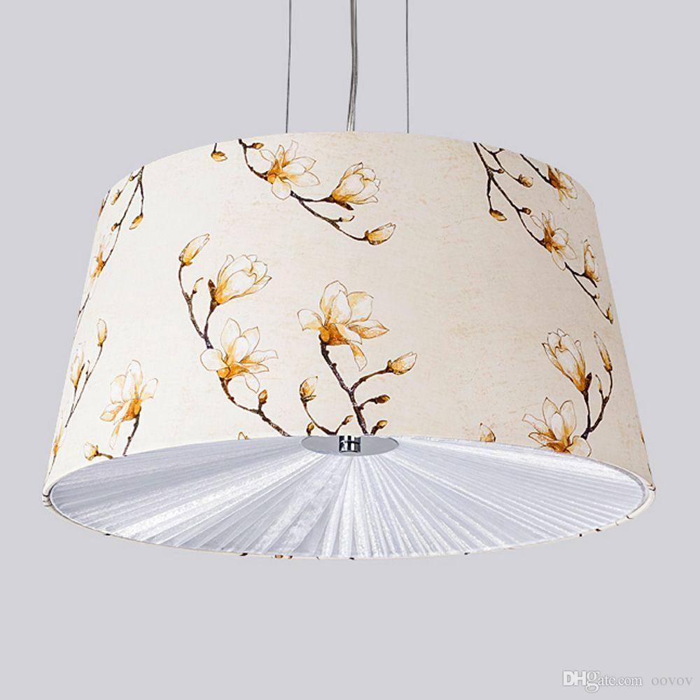 Oovov الأزياء القماش الزهور نوم قلادة ضوء الحديث دراسة قلادة مصابيح غرفة الطعام شنقا مصباح