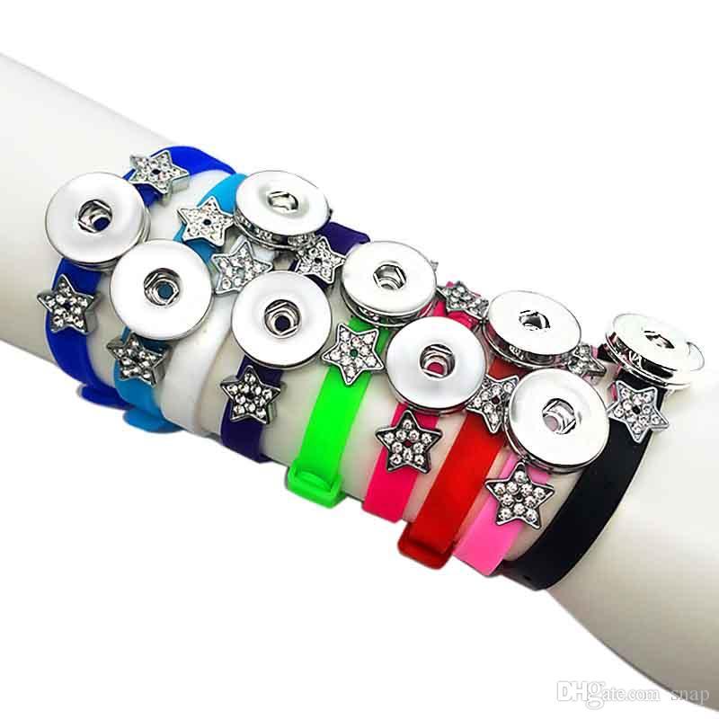 Sıcak Satış 9 Renkler Silikon 219 Moda 18mm Snap Düğmesi Bilezik Kadınlar Çocuklar Genç Için Değiştirilebilir Charm Takı Genç 20 cm * 08 cm