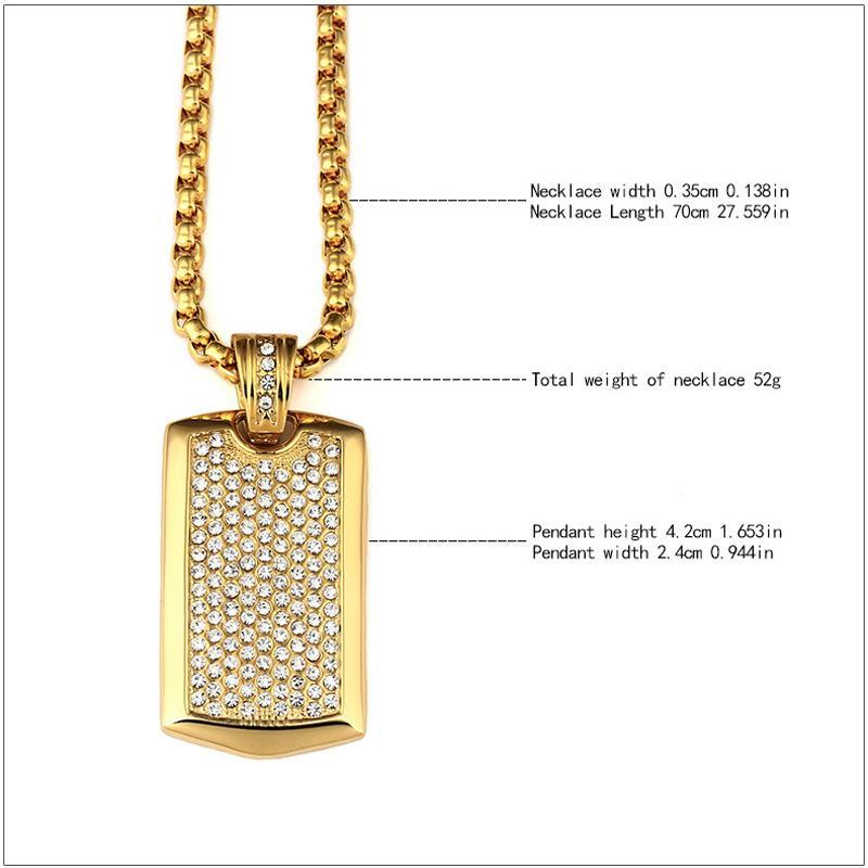 Acciaio inossidabile titanio punk hip hop gioielli 24 k placcato in oro strass dog tag pendente lunga collana a catena le donne degli uomini