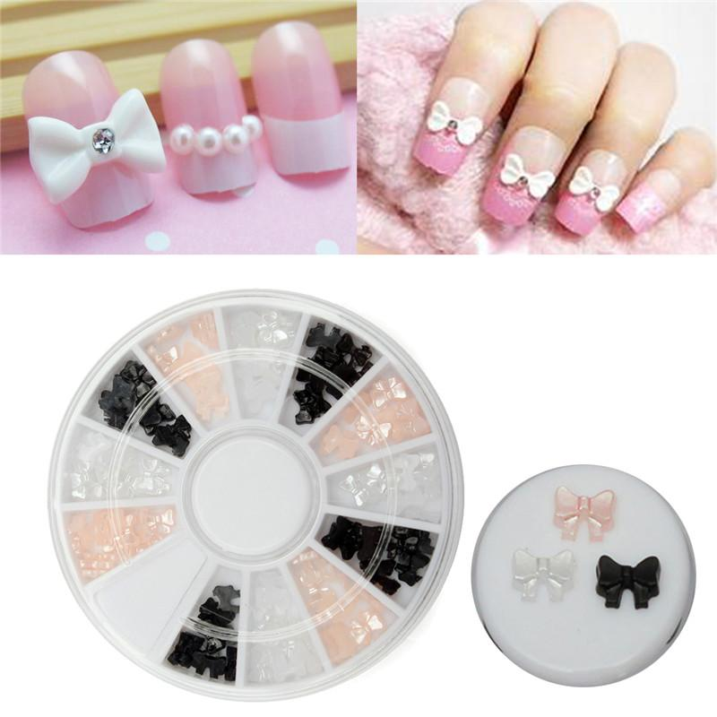 Nail Art Tip Sticker Diy Pearl Ribbon Bow Tie Alloy Glitter