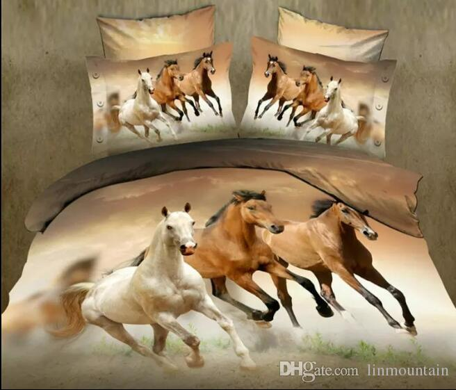 Vivid Sign Of The Zodiac Horse Pattern Home Textiles Personality Quilt Twin King Size 3D Polyester Bedding Sets 3pcs