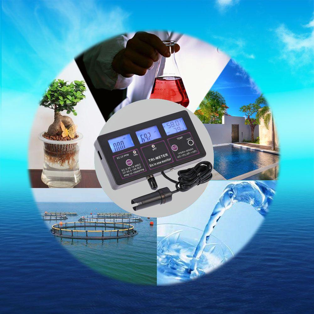 Freeshipping 6 en 1 Tester de la calidad del agua Medidor de ph Medidor de agua multiparámetro para la prueba PH / Temperatura / EC / CF / RH / TDS