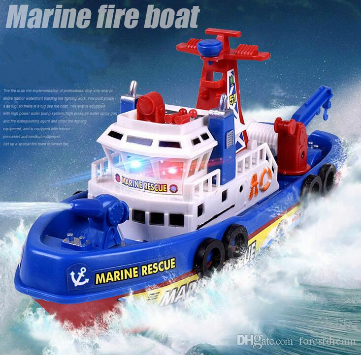 Children's toys model electric model boat fire sprinkler music lights will be in the water with water toys