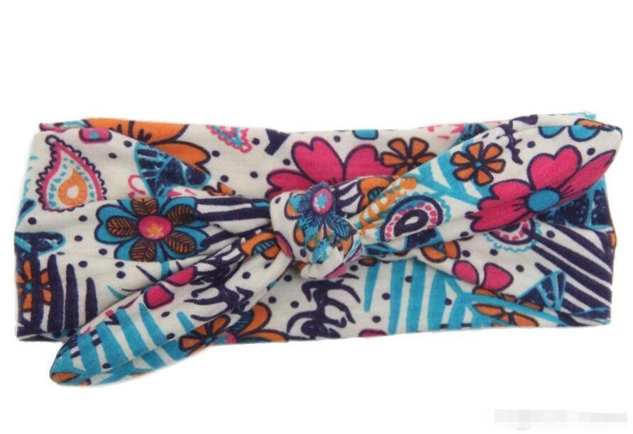 Fascia in cotone bohemien Baby Bowknot Flower Turbante Twist Head Wrap Twisted Knot Fascia capelli morbidi Fasce bambini Bandane