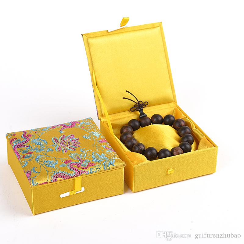 Étnica Dragão Pulseira Caixa De Jóias De Presente de Algodão preenchido Display Case Chinês brocado De Seda Caixas De Embalagem De Papelão Decorativo