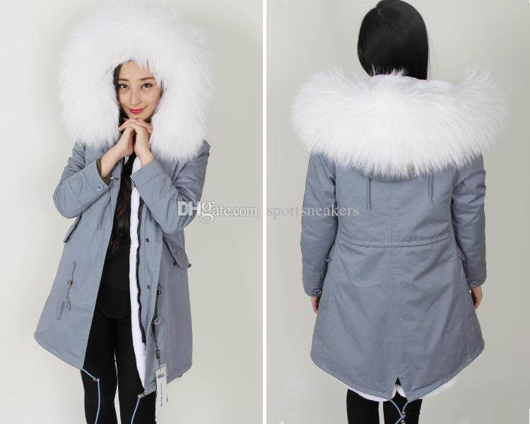 Grey JACKET Ladies Long Parkas with Raccoon Collar Removable ...