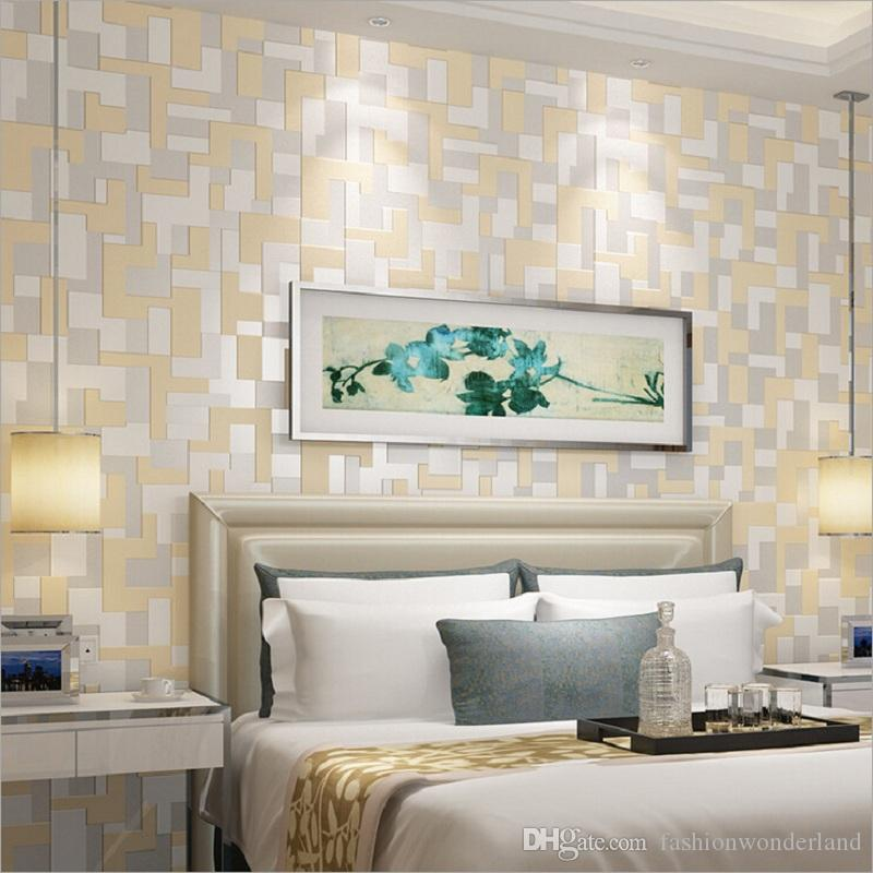 2017 new modern mosaic wallpaper geometric plaid non woven for Wallpaper colors for bedroom