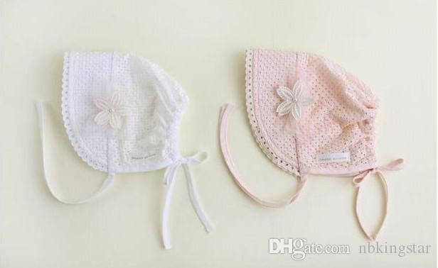 Sweet Princess Hollow Out Baby Girl Hat Summer Lace-up Beanie Pink/White Cotton Bonnet Enfant for 0-12M