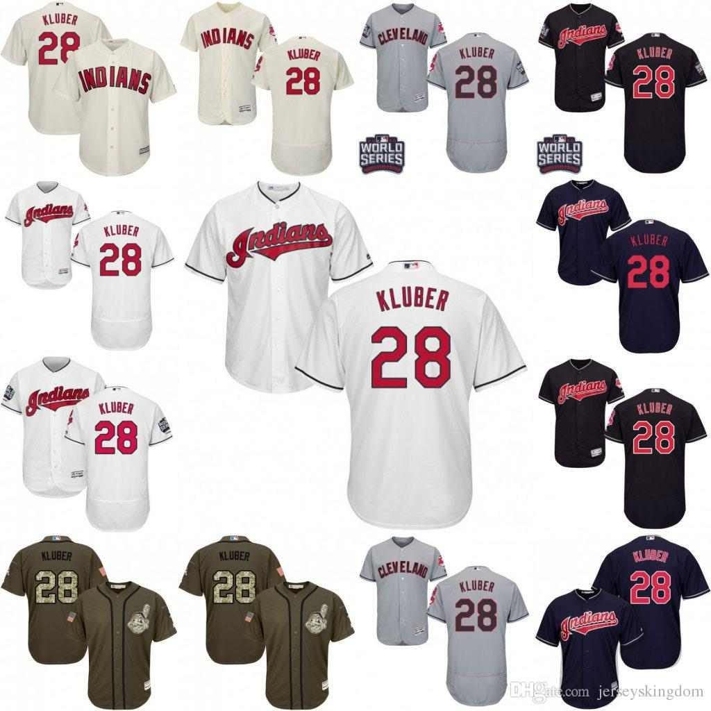 49a3ad21884 ... 2017 Mens Cleveland Indians Jersey 28 Corey Kluber Coolbase Flex Base  White Navy Baseball Jersey From Replica ...