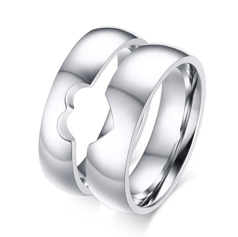 2018 stainless steel silver heart puzzle wedding band plain simple heart promise rings free engraving from visonjewelry 402 dhgatecom - Puzzle Wedding Rings