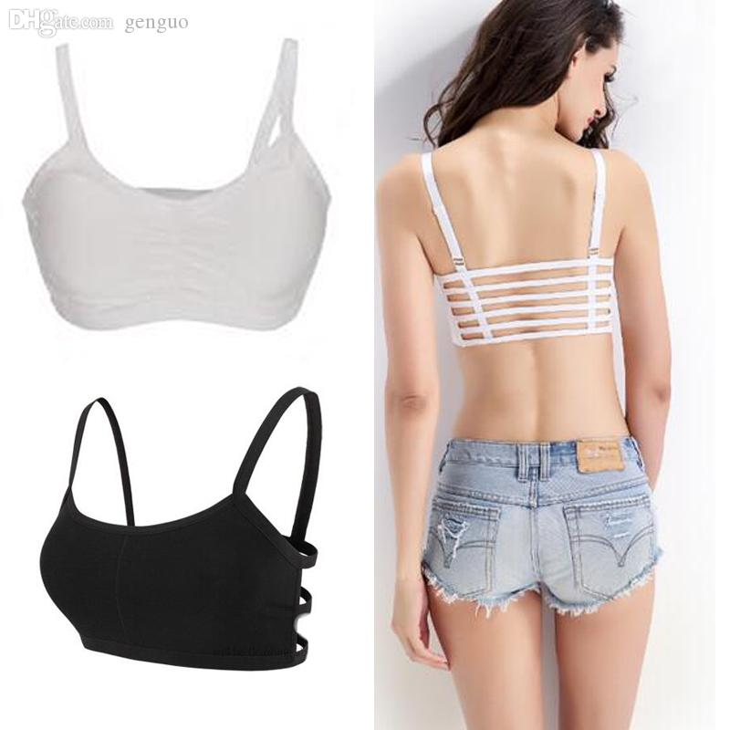 92cc1e1507 2019 Wholesale Hot 2016 Fashion New Sexy Women Cotton Hollow Back Midriff  Shirt Tank Top Padded Bra Wrap Vest Chest Sport Bra Crop Tops From Genguo
